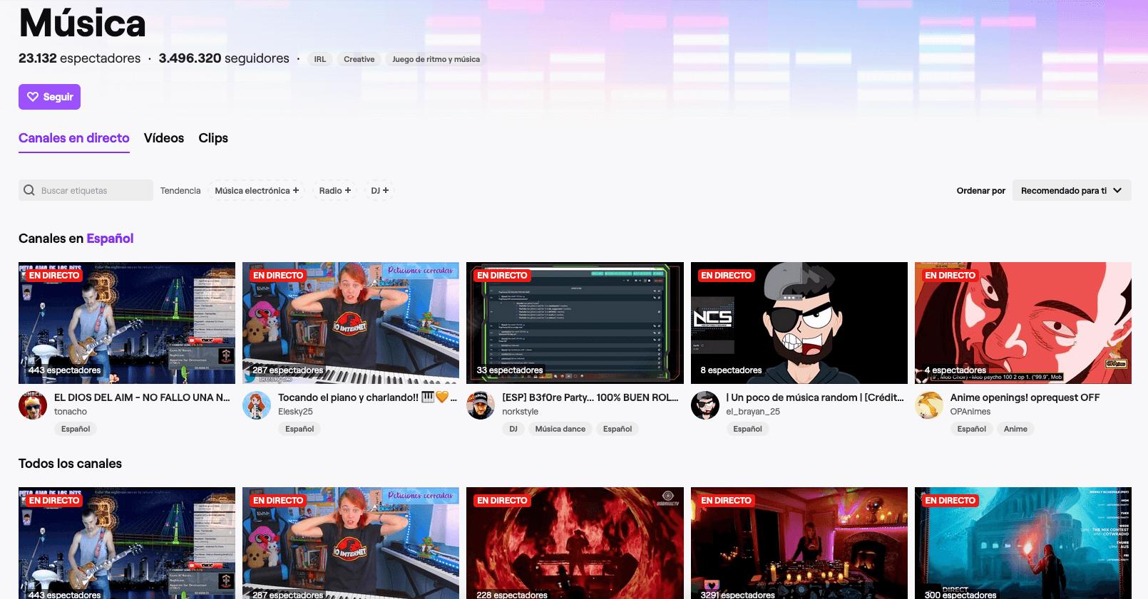 Música en streaming en twitch