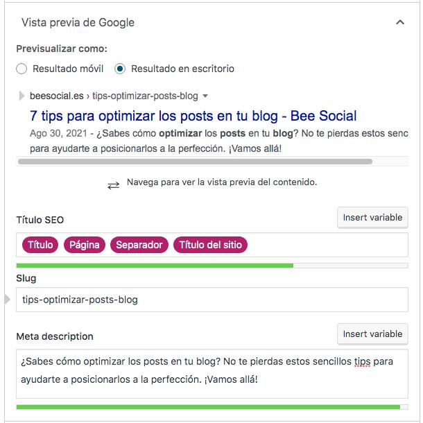 Optimizar posts en buscador